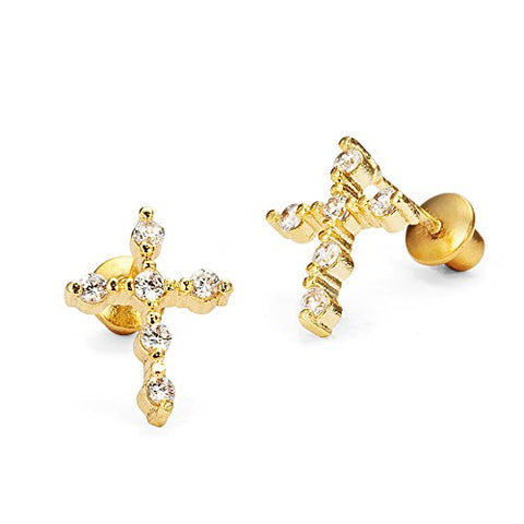 14k Gold Plated Brass Cross Cubic Zirconia Screwback Baby Girls Earrings with Sterling Silver Post