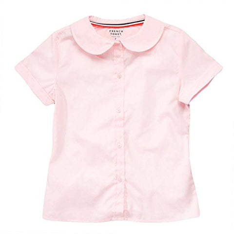 French Toast Short Sleeve Peter Pan Blouse (Feminine Fit) Girls Pink 20