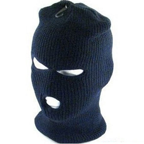 New Ski Face Mask Knit Beanie Biker Snowboard 3 Holes * Navy Blue * Size - Medium / Large