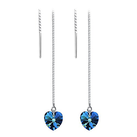 Yoursfs Heart Threader Earrings crystal for women long dangle Blue Earrings