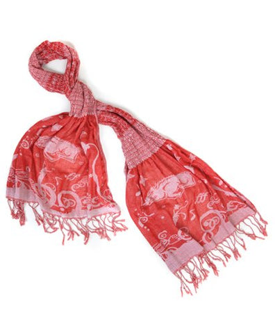 Official NCAA Arkansas Razorbacks Thin Crinkle Shawl Scarf