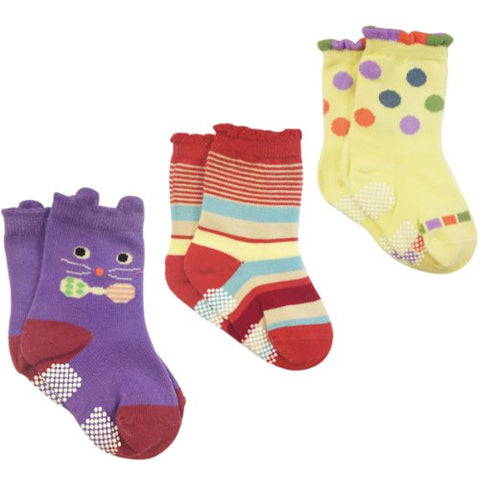 Wrapables Peek A Boo Animal Non-Skid Toddler Socks (Set of 3), Cat Large