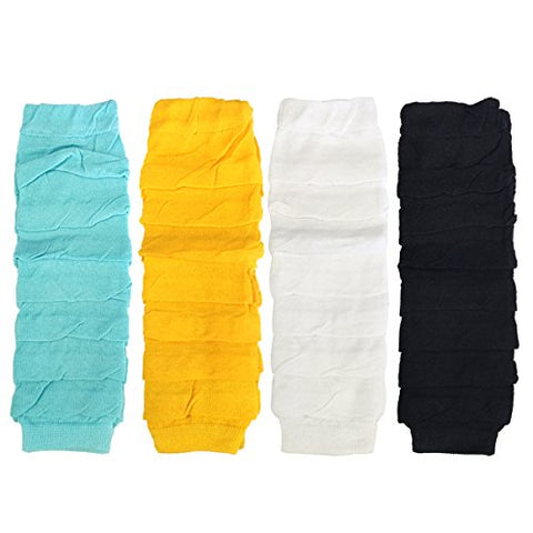 Wrapables Colorful Baby Leg Warmers Set of 4, Ruched Aqua, Marigold, White, Black
