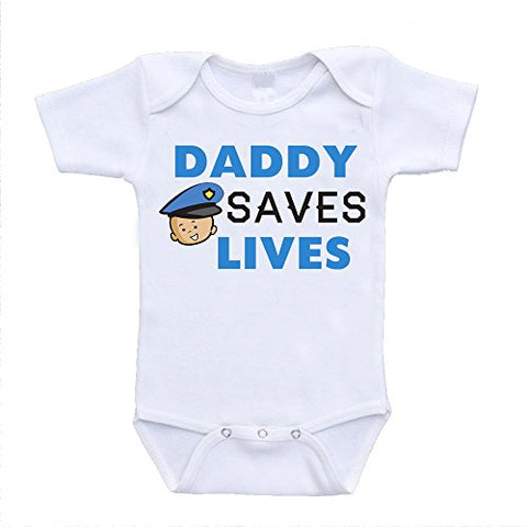 Daddy Saves Lives Police Officer Cop Dad Father Baby Onesies newborn(0-3 Months)