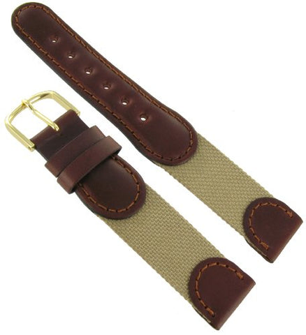 18mm Hirsch Explorer Watch Band Brown and Beige Swiss Army Style