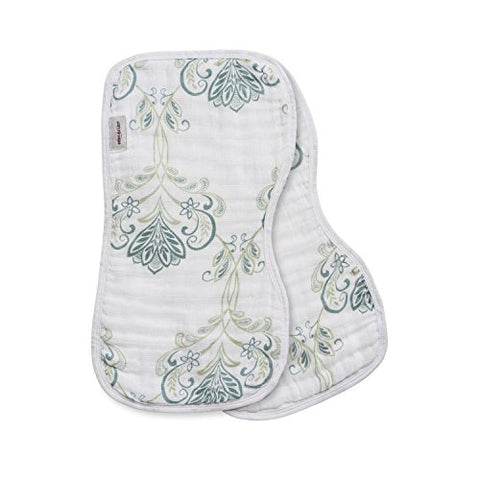 Bebe au Lait 2 Piece Contoured Muslin Burp Cloth Set, Isla