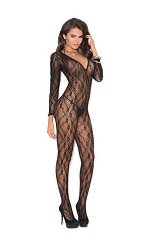 Sexy Women's Low Cut Deep V Long Sleeve Open Crotch Bodystocking Lingerie