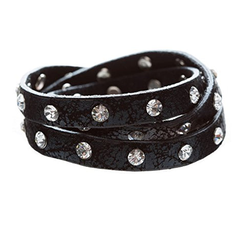 Trendy Distressed Faux Leather Crystal Studs Design Fashion Wrap Bracelet Black