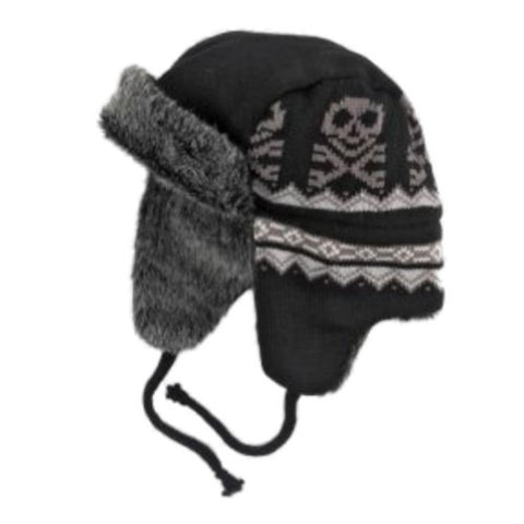 Ben Berger Boys Black Skull Trapper Hat Fur Lined Aviator