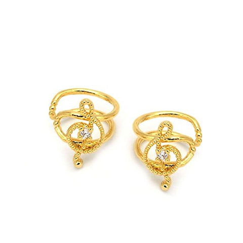 Treble Clef Ear Cuffs Gold Music Note Brass CZ Dainty Handmade Jewelry Gift BE114-G