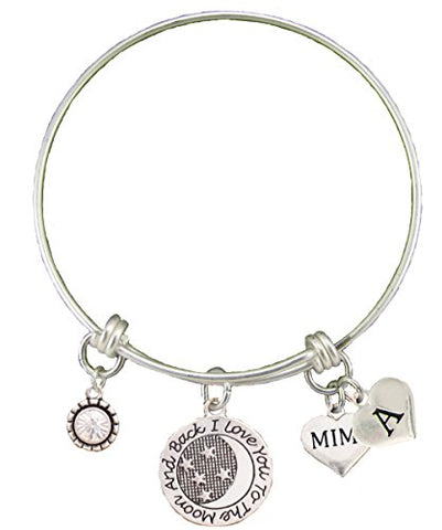 Custom Mimi Love You To The Moon Silver Wire Bracelet Choose Initial Charm Gift