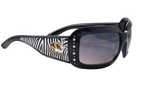 Missouri Mizzou Tigers MU Black Zebra Print Clear Crystals Sunglasses S4ZB