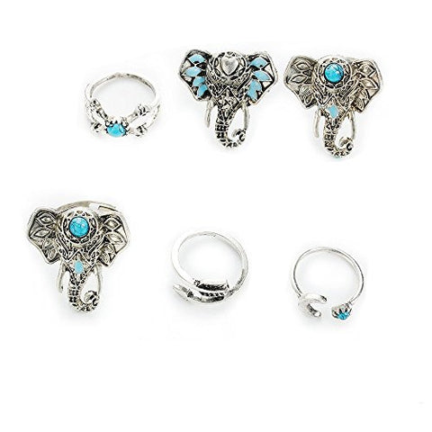 Sexy Sparkles 6 pcs Nonadjustable Women's Band Knuckle Midi Rings Elephant Theme