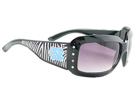 North Carolina Tar Heels UNC Black Zebra Print Crystals NCAA Sunglasses S4ZB