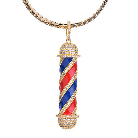 Metaltree98 Men's New Micro Mini Pave Brass Barber Shop Pendant With 24 Miami Cuban Chain BCH 15108G