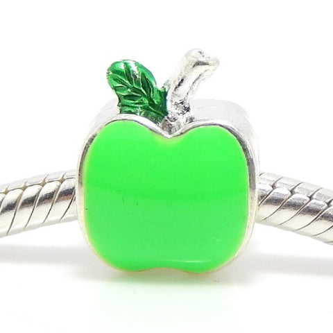 Jewelry Monster Silver Finish Enamel Painted  Green Apple  Charm Bead for Snake Chain Charm Bracelet