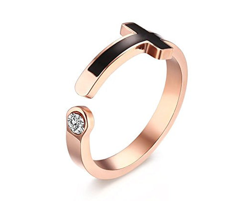Vnox Womens Stainless Steel Sideway Cross Cubic Zirconia Engagement Adjustable Cuff Ring Rose Gold Plated