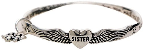 Bracelet - Sister Prayer Twist Silvertone Bangle Bracelet - Sisters Love
