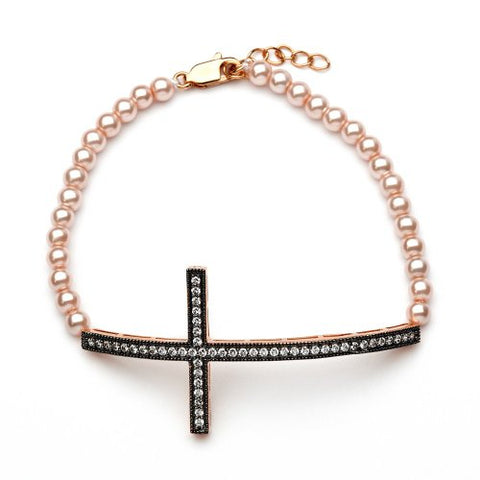 Sterling Silver Rose Gold & Black Rhodium Plated Pearl Bead Links Sideways Cross CZ Bracelet