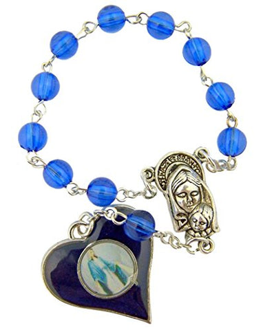 Blue Enamel Our Lady of Grace Heart Shape Medal One Decade Rosary, 5 Inch