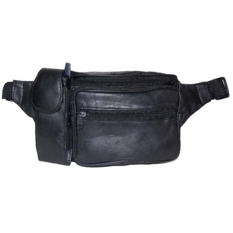 Lambskin Leather Black Fanny Pack with Cell Phone Pouch