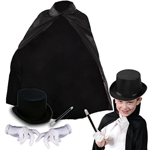Deluxe Childrens Magicians Kit with Black Cape Hat Magic Wand and White Gloves