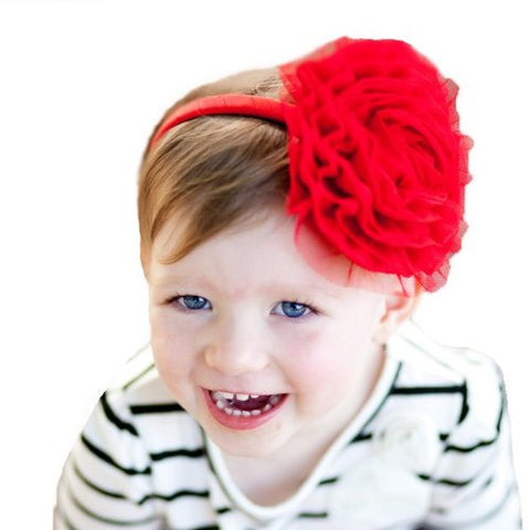 Melondipity Girls Red Rosette Baby Headband - Christmas Holiday Flower Accessory