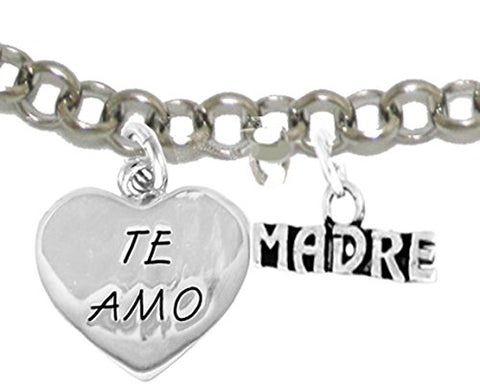 Te Amo Madre Adjustable Bracelet, Hypoallergenic, Safe-Nickel, Lead, Cadmium Free