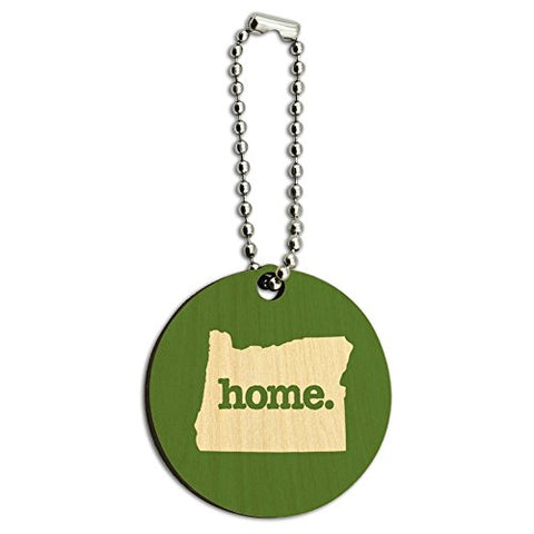 Oregon OR Home State Wood Wooden Round Key Chain - Solid Green