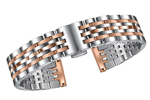 18mm Two Tone Silver and Rose Gold Wristwatch Bands Solid 316L Stainless Steel Quick Release Clasp