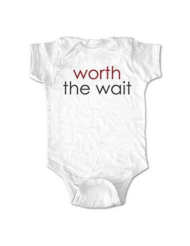 worth the wait - cute funny baby one piece bodysuit - Infant Clothing (Newborn, White)
