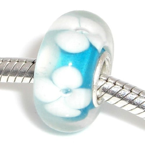 Jewelry Monster Single Silver Plated Core  Baby Blue w/ White Flowers  Hand Crafted Translucent Murano Glass Charm Bead for Snake Chain Charm Bracelet