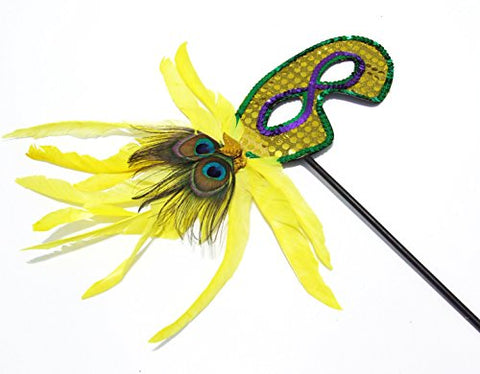 Twilight Yellow Halloween Feather Wand Mask Mardi Gras