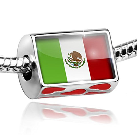 Bead with Hearts Mexican Flag - Charm Fit All European Bracelets, Neonblond