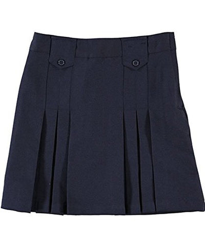 French Toast Front Pleated Skirt With Tabs - navy, 7