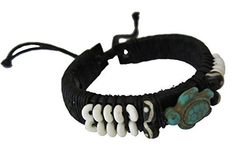 Turtle Leather Bracelet - Black Leather Bracelet with Turtle in Turquoise Color - Sea Turtle Bracelet