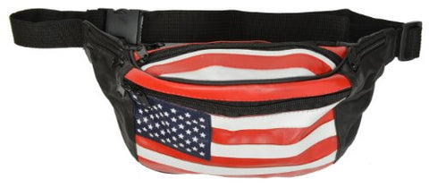 Marshal Wallet Unisex Leather American Flag Fanny Waist Pack Black extends up to 57