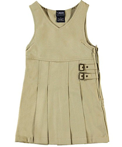 French Toast Little Girls' Double Buckle Tab Jumper - khaki, 6