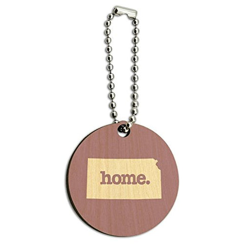 Kansas KS Home State Wood Wooden Round Key Chain - Solid Light Rose