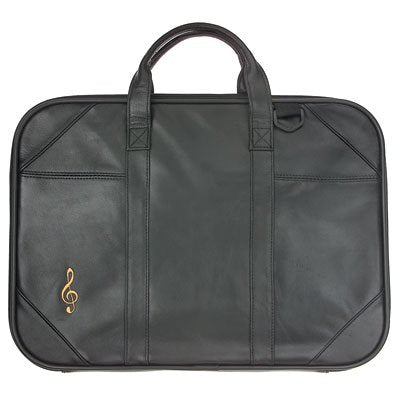 Briefcase Leather with Music G-Clef Embroidery & Strap