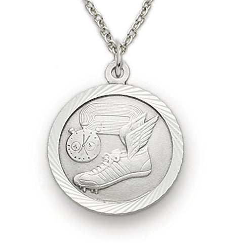 Sterling Silver Track Sports Medal with Saint Christopher Back, 3/4 Inch