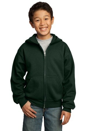Port & Company Men's Ultimate Full Zip Hooded Sweatshirt,Large,Dark Green.Dark Green