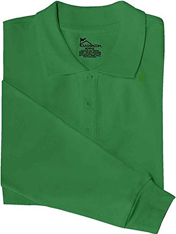Adult Unisex Long Sleeve Pique Polo (Kelly Green;Large)