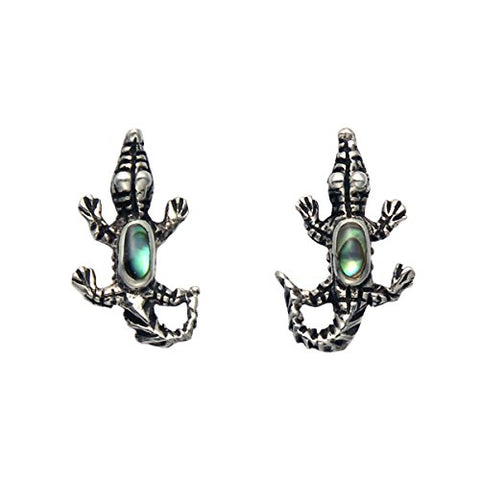 Small Sterling Silver Alligator w/Inlaid Abalone Shell Stud Earrings