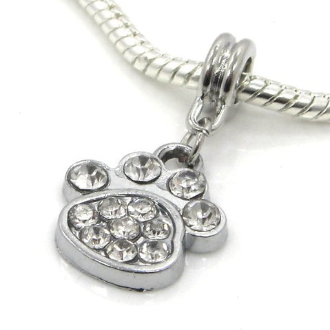 Jewelry Monster Silver Finish Dangling  White Crystal Rhinestone Paw Print  Charm Bead for Snake Chain Charm Bracelet