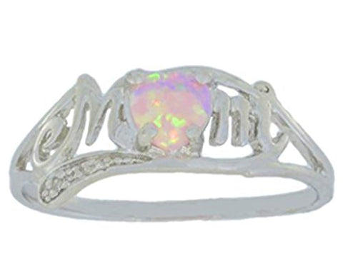 Simulated Pink Opal & Diamond Heart Mom Ring .925 Sterling Silver (Size 7)