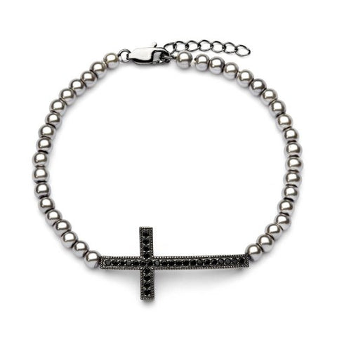 Sterling Silver Black Rhodium Plated Grey Pearl Bead Links Sideways Cross Black CZ Bracelet