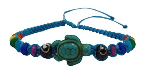 Turtle Bracelet- Blue Bracelet with Turtle in Turquoise Color- Rainbow Beads