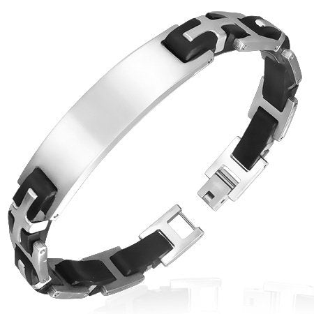 Personalized Stainless Steel with Rubber Cross Bracelet - Free Engraving