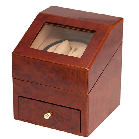 BURL WOOD 2+2 AUTOMATIC DOUBLE / DUAL WATCH WINDER DISPLAY STORAGE BOX BATTERY OR AC/DC